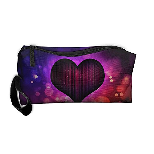 Roomy Cosmetic Bags With Zipper For Travel Heart Portable Ladies Hand Bag