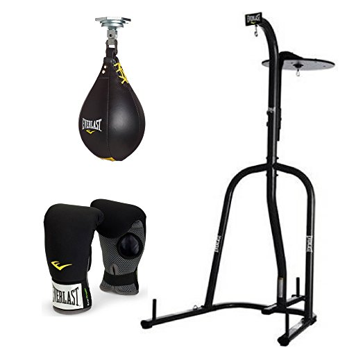 Everlast - 2 Station Heavy Bag Stand (with Leather Speed Bag and Neoprene Heavy Bag Gloves) (Leather Bag Heavy Synthetic)