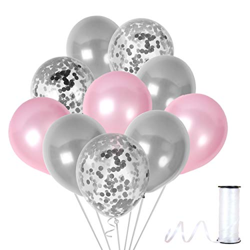 (Unicorn Light Pink and Silver Balloons Silver Confetti Balloon Party Kit for Birthday Baby Shower Wedding Bridal Shower Party)