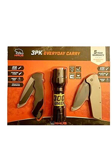 - HAUS Folding Knife and Flashlight 3-Pc Set