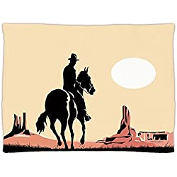 Super Soft Throw Blanket Custom Design Cozy Fleece Blanket,Western,Art of Cowboy Riding Horse towards Sunset in Wild West Desert Hero Decorative,Yellow Orange Black,Perfect for Couch Sofa or Bed