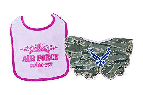 TC Baby Girls U.S. Air Force Camo Princess Bibs 2 pk (Air Force Bib)