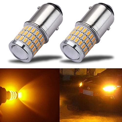 iBrightstar Newest 9-30V Super Bright Low Power 1157 2057 2357 7528 BAY15D LED Bulbs with Projector replacement for Turn Signal Lights,Amber Yellow ()
