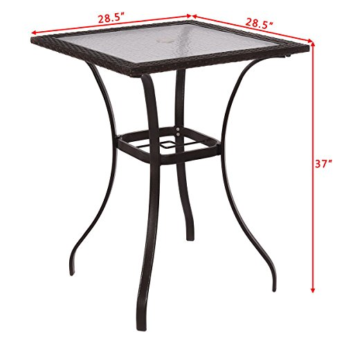 New Outdoor Patio Rattan Wicker Bar -Square Table Glass Top 28.5x28.5x37'' Yard Garden Furniture US -Fast Ship by Nice1159 (Image #3)