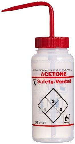 Bel-Art Safety-Vented/Labeled 2-Color Acetone Wide-Mouth Wash Bottles; 500ml (16oz), Polyethylene w/Red Polypropylene Cap (Pack of 3) (F11642-0622) ()