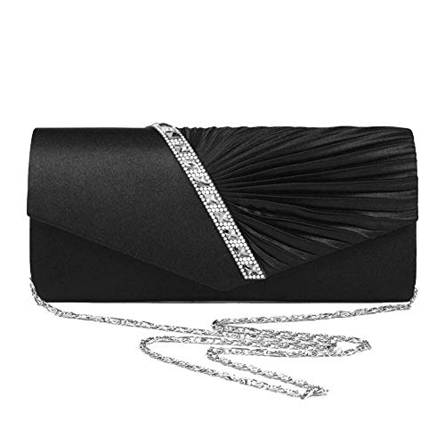 Bag Cross Wedding Party Satin Crystal Clutch Womens Handbag Studded Body Black Pleated Evening Biback Purse and for wq5tOUU