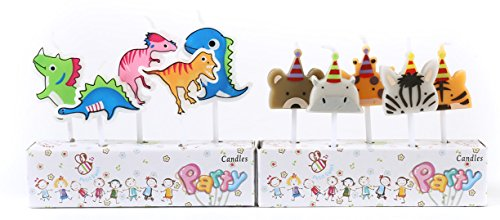ICASA Birthday Candle for Kids, Dinosaur Animal Party Cake Candles Cake Topper Decor for Kids Child Boys Girls Celebration 10-Pack 2.5 inch by ICASA
