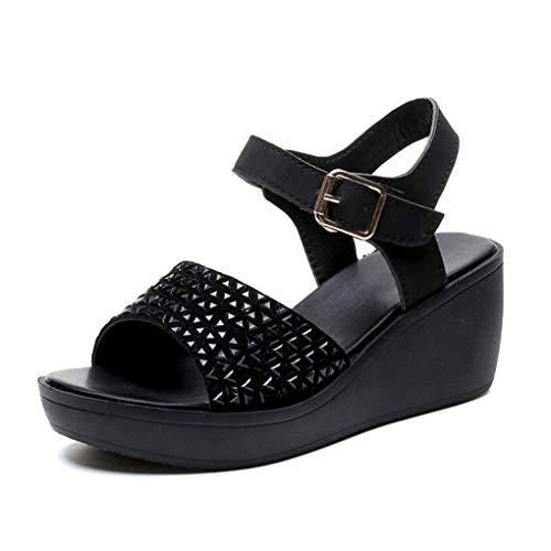 Crimeng Women Black Wedge Platform Sandals 2.5 Inch Thick Mid Heel Open Toe Ankle Buckle Outdoor Beach Sandals