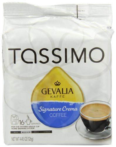 Gevalia Signature Crema Coffee (Medium), 16-Count T-Discs for Tassimo Coffeemakers (Pack of 2)