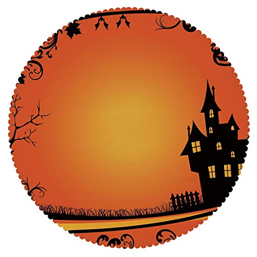 iPrint Durable Round Tablecloth [ Halloween,Framework with Curvy Tree Branches Swirls Leaves Gothic Castle Festival Decorative,Orange Yellow Black ] Decorative Tablecloth Ideas