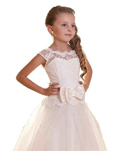 Edooli Fancy Lace Long Dress for Girls First Communion Dresses Size 12 -