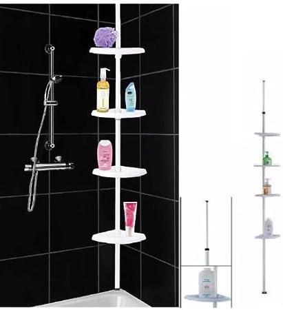 Home Style 4tier Shower Caddy Telescopic Bathroom Corner Shelf Pole Rack System Organiser Amazon Co Uk Kitchen Home