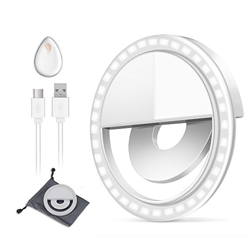 (GIM l187 Rechargeable Selfie Ring Light, Super Slim, Selfie Light Ring 3-Level Brightness 36 Led Portable For Phone Camera Photography Video, Clips On Ring Fill Light 3 Level,)