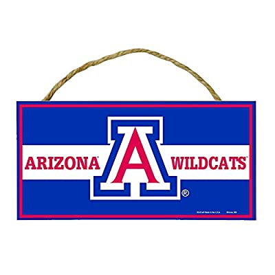 Bek Brands College and University Mascot Wood Sign with Rope Handle, 5 x 10 in (Arizona Wildcats)