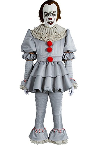 Mesodyn Movie Pennywise Costume Halloween Deluxe Clown Outfit Mens X-Small (Without Mask)]()