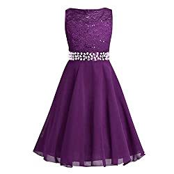 Rhinestone Sequin Chiffon Lace Flower Girl Dress