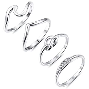 Adramata 3 Pcs Stainless Steel Engagement Wave Ring for Women Cute Thumb Band Rings Set