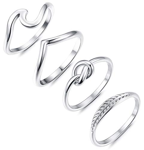 Adramata 4 Pcs Stainless Steel Engagement Wave Ring for Women Girls Cute Thumb Band Rings Set