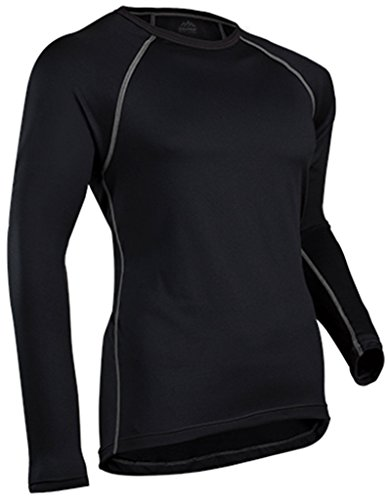 ColdPruf Men's Quest Performance Base Layer Long Sleeve Crew Neck Top, Black, - Crewneck Layer Single