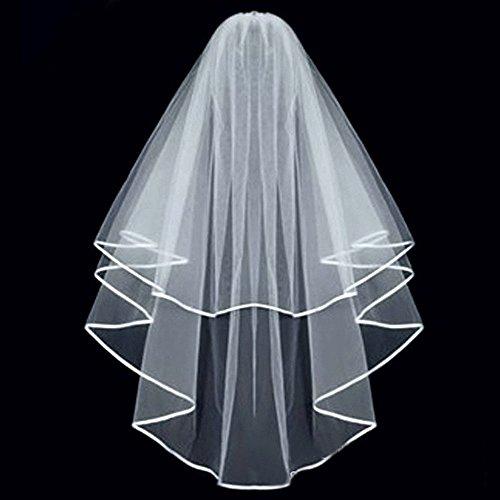 KLOUD City¨White Double ribbon Edge Center Cascade Bridal Wedding Veil with Comb