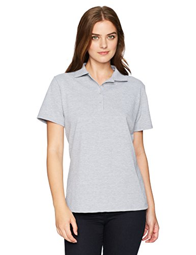(Hanes Women's Pique Polo, Light Steel, Large)