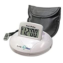 Sonic Bomb Digital Travel Alarm Clock with Sonic Shaker Bed Vibrating Feature, 90 DB Extra-Loud Alarm, Bonus FREE Travel Case with Pillow Strap & Batteries Included