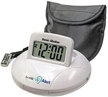 Sonic Bomb Digital Travel Alarm Clock with Sonic Shaker Bed Vibrating Feature, 90 DB Extra-Loud Alarm, Bonus FREE Travel Case with Pillow Strap Batteries Included
