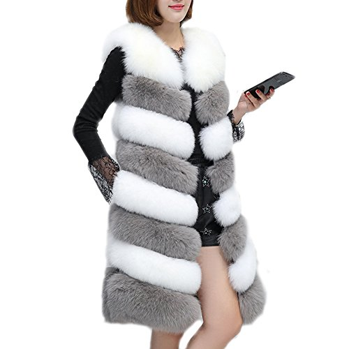 Abrigo Invierno Mujer Folobe De Piel Sint¨¦tica Chaqueta Whitegray Para RzwwTqvanx