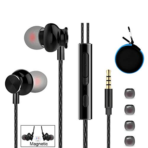 Earphones Headphones, Powerful Bass Driven Sound, Ergonomic Design Earbuds with Microphone and Volume Control for iPhone 6 6s 6plus 6s Plus, iPad, iPod, Samsung, MP3 Players (Blue Carrying Case)