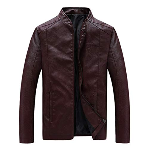 - Oudahood Men's PU Jackets Coats Motorcycle Leather Jackets Wine red 6XL