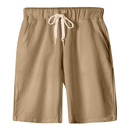 - XinDao Women's Soft Knit Elastic Waist Jersey Bermuda Shorts with Drawstring Khaki