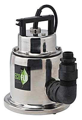 ECO-FLO Products SUP64 Stainless Steel Manual Submersible Utility Pump, 1/4 HP, 1,500 GPH