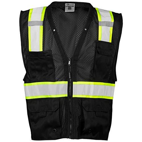 ML Kishigo Men's Enhanced Visibility Multi-Pocket Mesh Vest - Black, 2X/3X, Model# B100-2X-3X