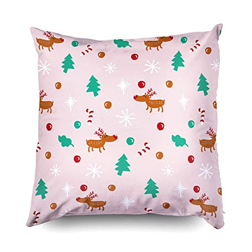 Deco Sofa Leather Art (TOMWISH X'Mas Hidden Zippered Pillowcase Reindeer Christmas Pattern Pink Background Candy 18X18Inch,Decorative Throw Custom Cotton Pillow Case Cushion Cover for Home Sofas,Bedrooms,Offices,and More)