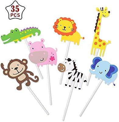 GWHOLE 35 Piezas Animales Cupcake Toppers Decoración para Pastel Tarta de Niños Fiesta de Cumpleaños Fiesta Temática Baby Shower