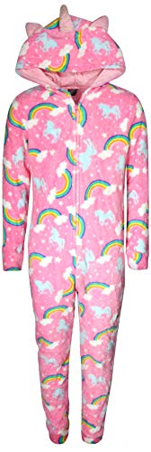 Sleepwear Girls Pj Fleece (dELiA*s Girls Coral Fleece Onesie Pajamas with Character Hood, Pink Unicorn, Size 5/6')