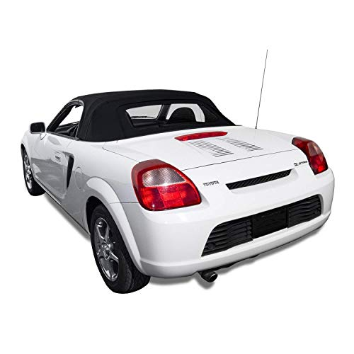 Compatible With TOYOTA MR2 Spyder Spider Convertible Soft Top & Glass Window Black Stayfast Cloth 2000-2005