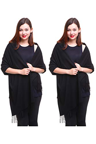 REEMONDE Large Extra Soft Cashmere Blend Women Pashmina Shawl Wrap Stole Scarf (2 Pack - - Womens Coat Blend Cashmere