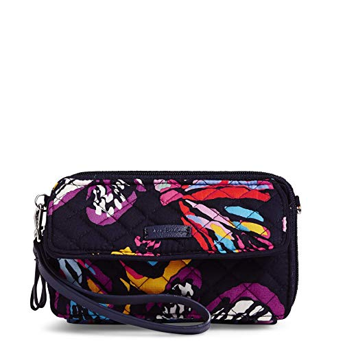 Vera Bradley Iconic RFID All in One Crossbody, Signature Cotton, Butterfly Flutter, Butterfly Flutter, One Size (Vera Travel Wallet)
