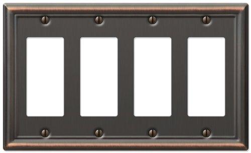 AmerTac 149R4DB Chelsea Steel Quad Rocker-GFCI Wallplate, Aged Bronze