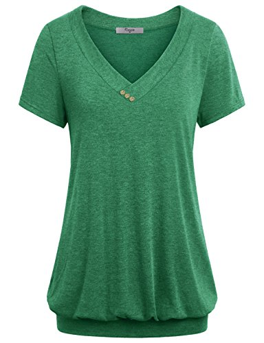 Cestyle Banded Hem Tops for Women, Formal Juniors V Neck Short Sleeve Vintage T Shirt Cute Comfy Tunic Blouses XX-Large Green ()