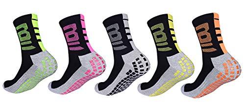 (ETLieren Men's Football Soccer Socks Epoxy Anti-Slip Running Compression Ankle Ball Sock 5 Pack (01_Mix_5)