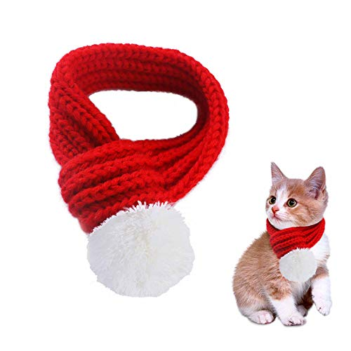PEDOMUS Pet Costume Christmas Scarf Red Pet Scarf Pet Apparel for Dogs and Cats(XS)