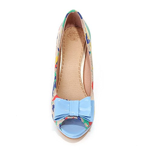 AllhqFashion Women's Soft Material Peep Toe High-Heels Pull-on Assorted Color Sandals Blue G6H4889a7