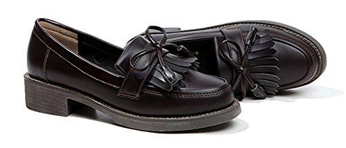 Oxford Skor Kvinnor Klackar, Kära Skoluniform Dress Shoe Arbets Använda Anti-sladd Djup Brun
