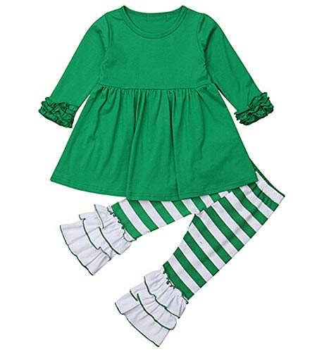 Toddler Girls St.Patrick's Day Outfits 2pcs Green Dress Tops Ruffled Striped Leggings Pants Set (Green, 130(5-6T)) -