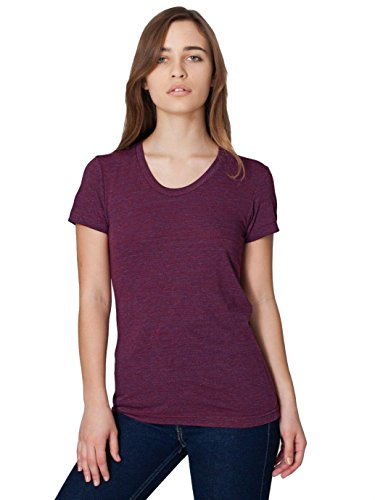 American Apparel Women's Tri-Blend Short Sleeve Women's's Track T-Shirt Size L Tri-cranberry