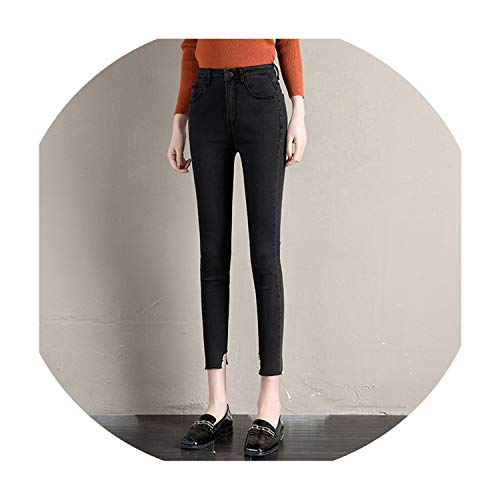 J And Company Bootcut Jeans - Vintage Fit High Waist Jeans Elastic Women Washed Denim Skinny Jeans Classic Pencil Pants 8248,Black,28