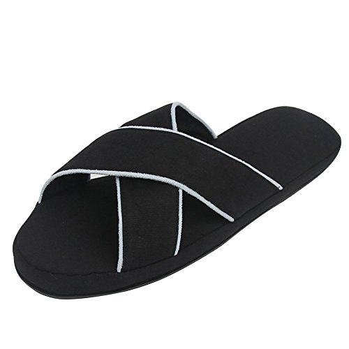 Home Slipper Cross Braids Indoor Slippers, Mens Womens Couple Breathable Summer House Slip-on Slippers Clog Shoes US 9/10, Black from Home Slipper