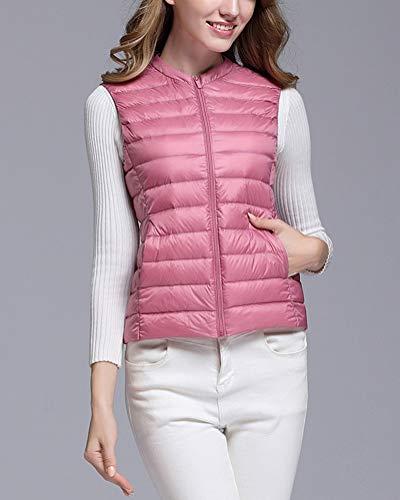 Rosa Senza Del Giacche Ultra Gilet Donna Cappotto Packable Piumino Rotondo Leggero Collo Maniche UBTBx6